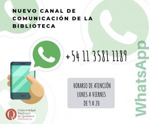 Canal de comunicación de la Biblioteca UNQ : WhatsApp